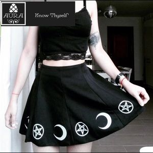 Moon Pentacle Gothic Mini Skirt Wicca Pentagram